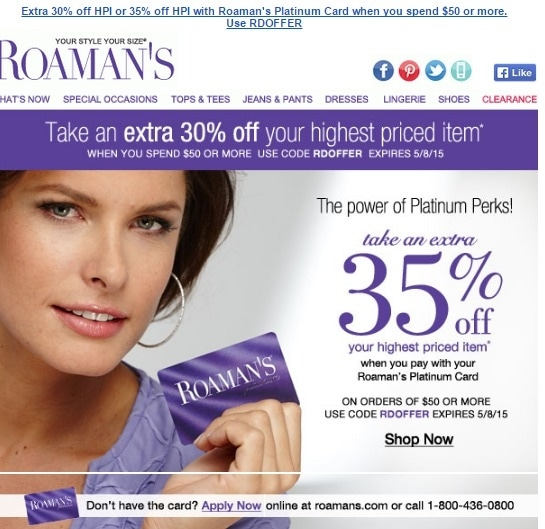 Roamans coupons 40 off entire order