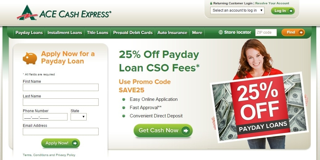 ACE Cash Express is a popular loans, banking & credit retailer which operates the website vaicepranspe.tk of today, we have 1 active ACE Cash Express promo code, 1 single-use code and 1 sale. The Dealspotr community last updated this page on February 21, ACE Cash Express has an average discount of 15% off and an average time to expiration of days/5(17).