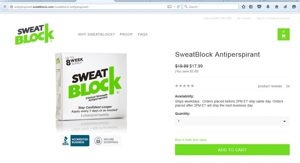 SweatBlock basically helps against sweating just as any antiperspirant would. However, rather than being rubbed on, which could cause irritation and damage skin and is thus becoming a common complaint of those with sensitive skin, SweatBlock comes in the form of pre-soaked cotton pads that are dabbed on to the skin.