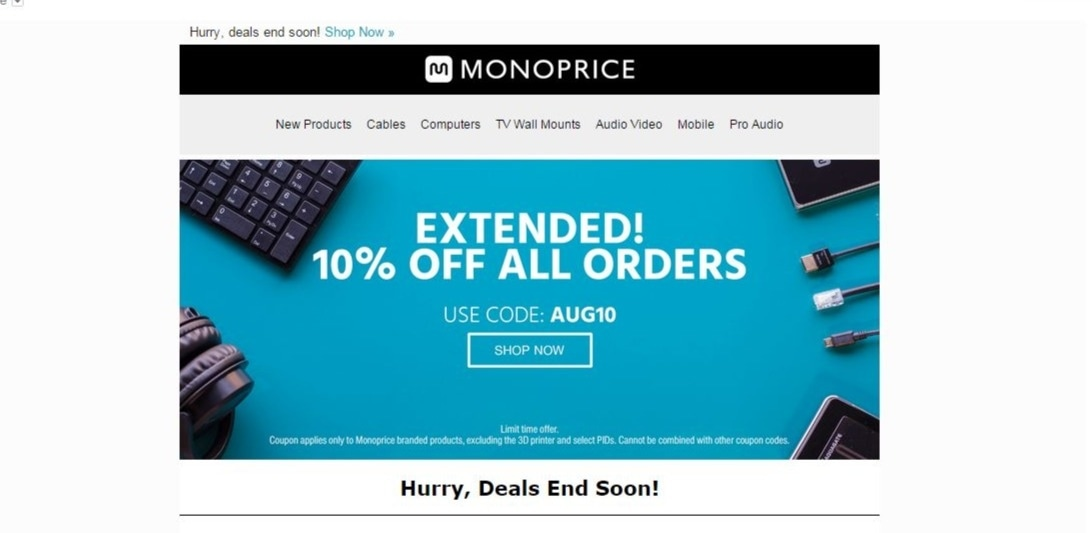 Monoprice coupon code free shipping