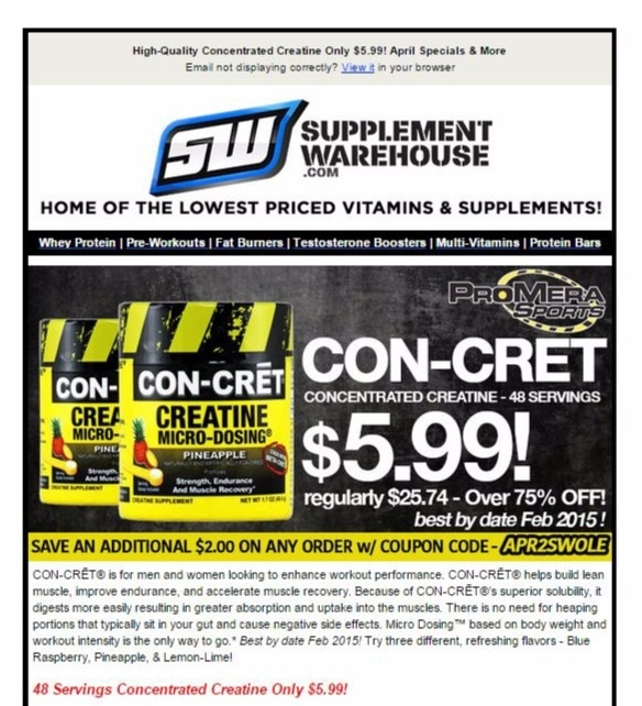Supplement Warehouse Coupon & Deal