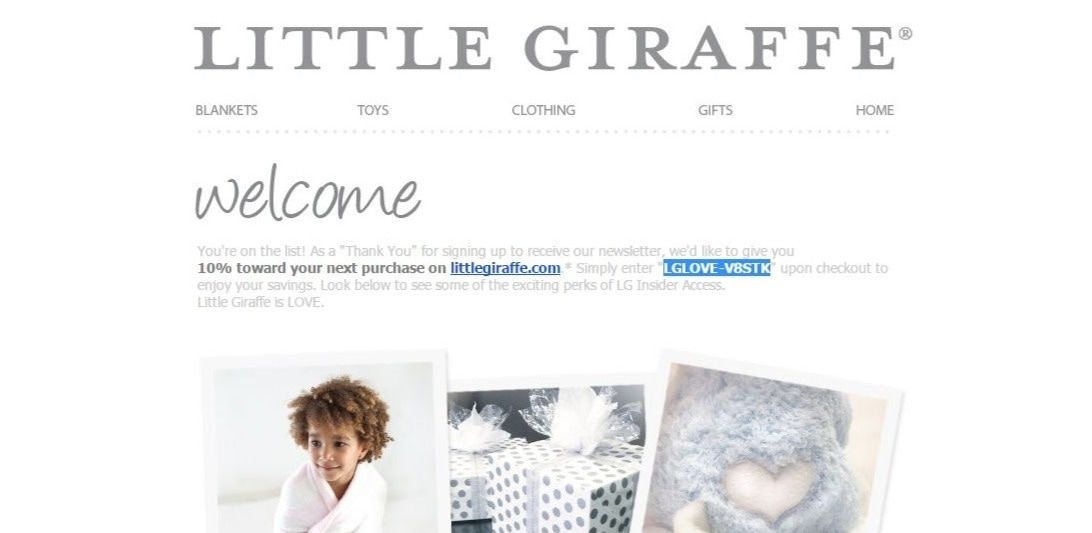 Coupon code for little giraffe blanket