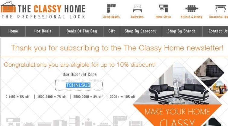 On average, The Classy Home offers 5 codes or coupons per month. Check this page often, or follow The Classy Home (hit the follow button up top) to keep updated on their latest discount codes. Check for The Classy Home's promo code exclusions. The Classy Home promo codes sometimes have exceptions on certain categories or brands/5(17).