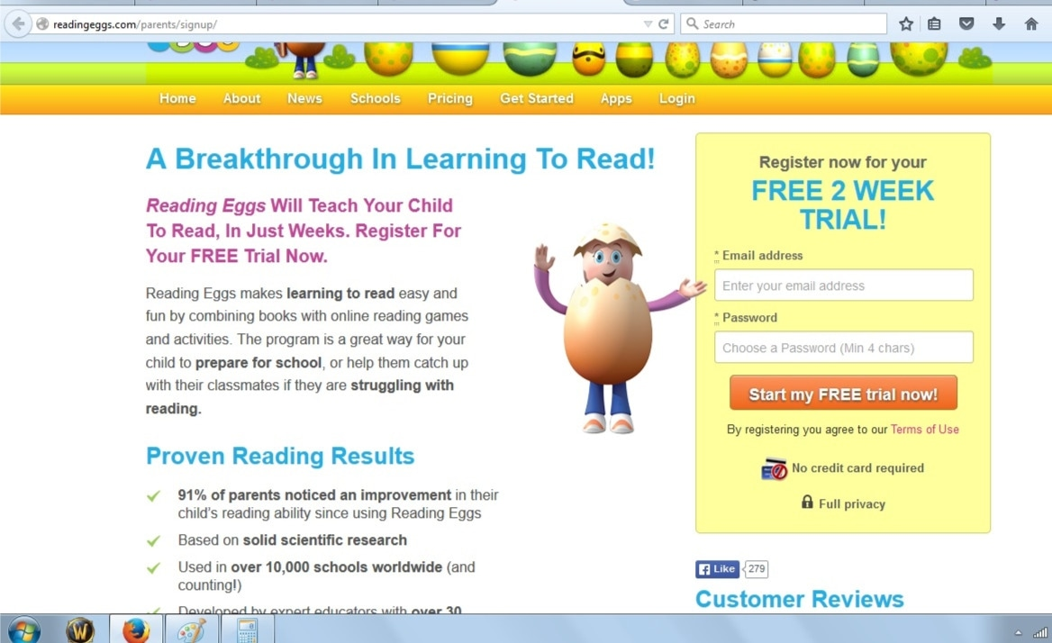 How to use a Reading eggs coupon With the Reading Eggs program, your children will enjoy the process of learning to read. Try out the program with an exclusive free trial; as a new customer, no credit card is required at registration. If you're satisfied after your day trial, order their reading packs and save anywhere from $35 to $