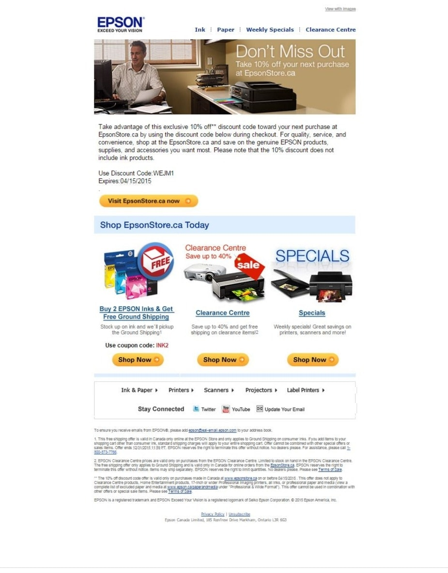 Epson discount coupon