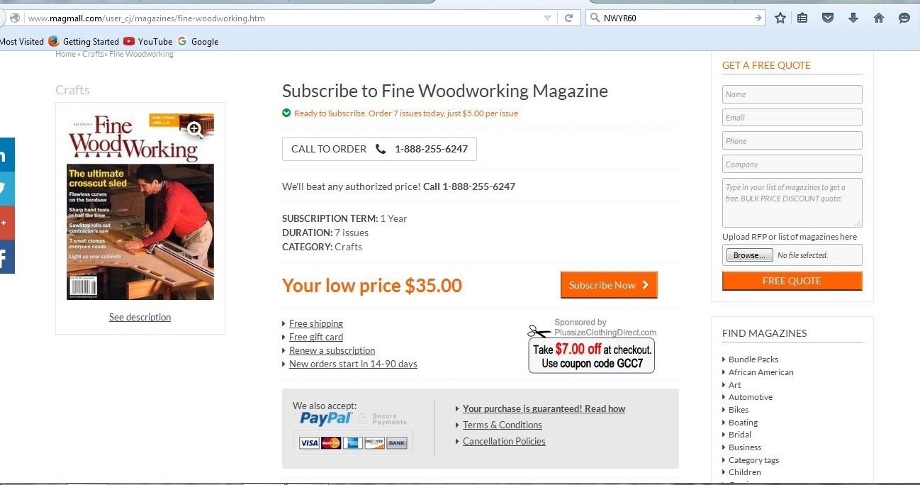 Get 36 off magmall promo code dealspotr coupons for Fine woodworking magazine discount