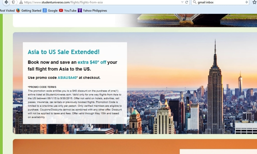 Extra $40 Off Your Fall Flight From Asia To The US at Student Universe
